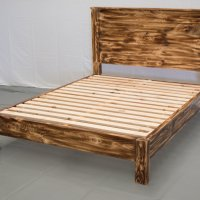 Torched Farmhouse Bed &  Headboard